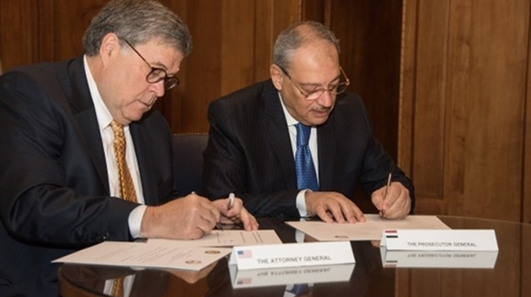 Egypt's Public Prosecutor Nabil Sadek and United States Attorney General in the Donald Trump administration William Barr sign on Thursday a memorandum of understanding for judicial cooperation in Washington – Courtesy of the US Department of Justice