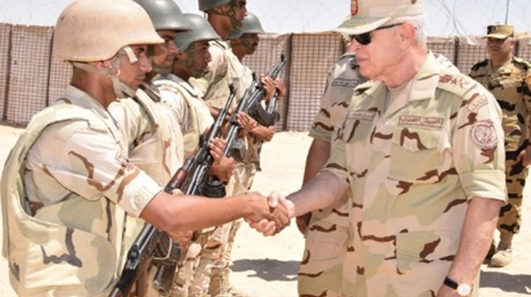 Egyptian Chief of Staff Lieutenant General Mohamed Farid visited on Saturday the soliders in North Sinai who are mandated with executing measures to besiege and eradicate militants and inspected the security checkpoints and operations and troops deployed