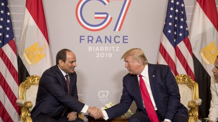 President Donald Trump and Egyptian President Abdel Fattah al-Sisi participate in a bilateral meeting at the G-7 summit in Biarritz, France, Monday, Aug. 26, 2019.