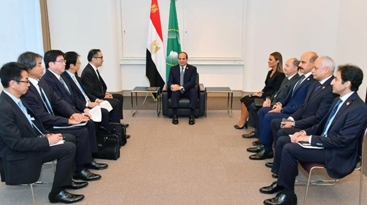 President Abdel Fatah al-Sisi meets with Masumi Kakinoki, the CEO of Japan's Marubeni Corporation and representatives from the company in Japan on the sidelines of TICAD- Press photo