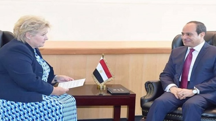 Egyptian President Abdel Fatah al-Sisi met on Monday with Prime Minister of Norway Erna Solberg on the sidelines of the UN General Assembly meetings in New York.