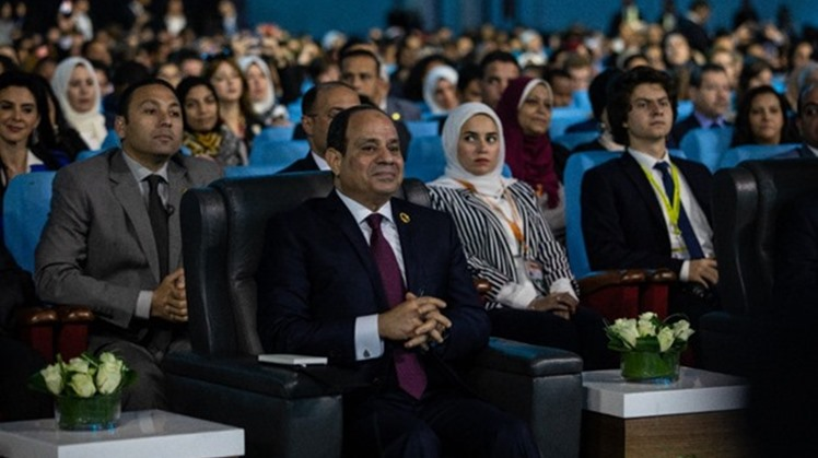 "President Abdel-Fatah al-Sisi during the session ""Artificial Intelligence & Humans: Who is in Control?"" at the 2019's the World Youth Forum - Via Twitter"