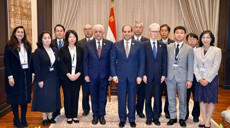 President Abdel Fatah al-Sisi met with the Japanese experts, who will be supervising Japanese schools in Egypt.