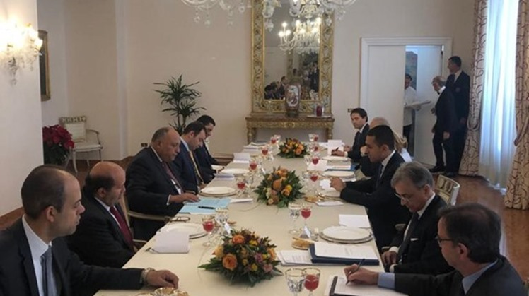 FILE - Egypt's Foreign Minister Sameh Shoukry discussed on December 5th the latest updates regarding Libya's political conflict with his Italian counterpart Italian Foreign Minister Luigi Di Maio in Rome