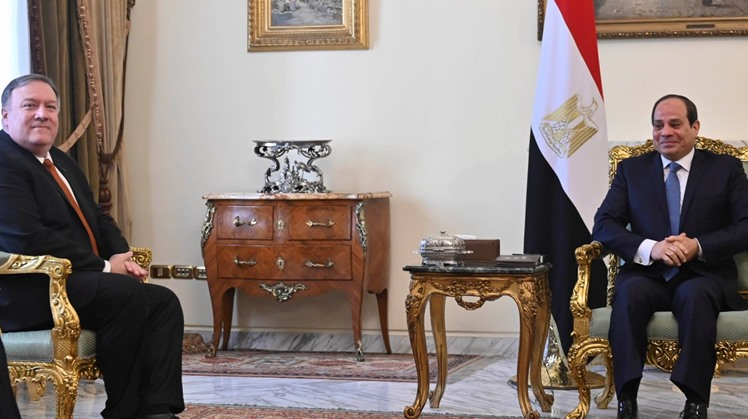 On the sidelines of Berlin Conference on Libya held Sunday, President Abdel Fatah al-Sisi and US Secretary of State Mike Pompeo discussed the files of the Libyan crisis and the controversial Grand Ethiopian Renaissance Dam (GERD).