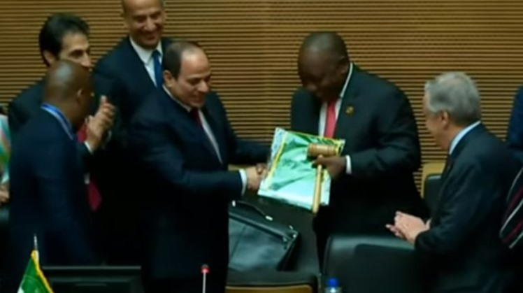 Egyptian President Abdel Fattah el-Sisi on Sunday handed over the presidency of the African Union to South Africa for a year, during his participation at the 33rd African Union Summit in the Ethiopian capital of Addis Ababa.