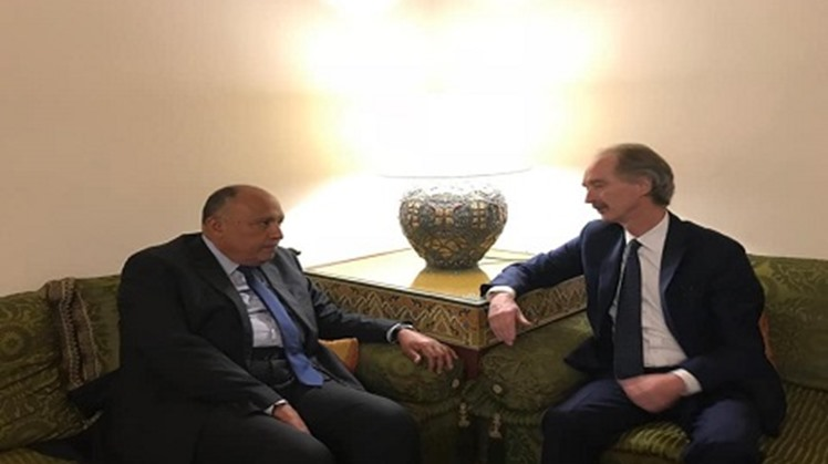 Egypt's Foreign Minister Sameh Shoukry affirmed Cairo's keenness on supporting efforts to settle the Syrian crisis and assisting the political process in accordance with United Nations Security Council resolution 2254.