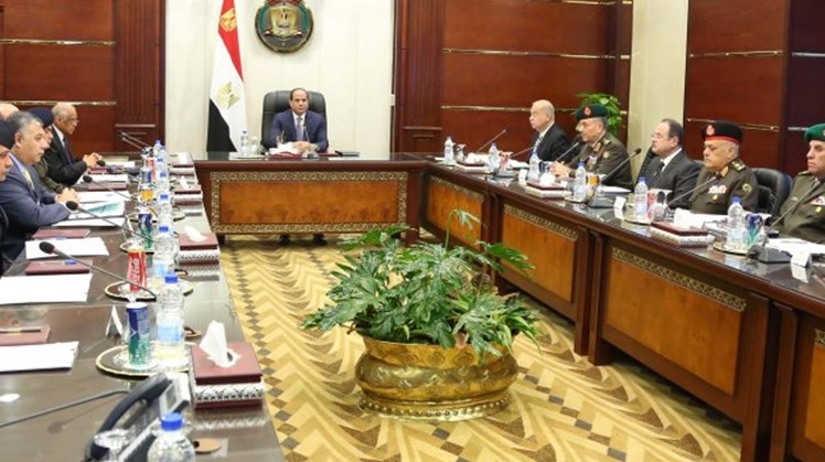 Egypt's National Defense Council, chaired by President Abdel Fatah el-Sisi, convened on Sunday to discuss the crisis of the controversial Ethiopian Renaissance Dam and the Libyan turmoil.