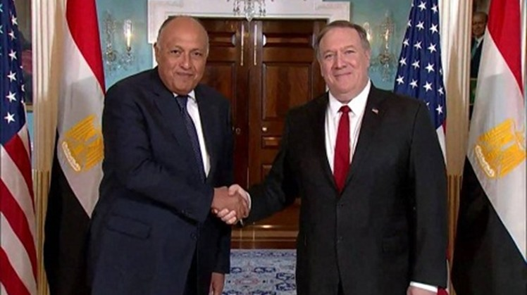 Egyptian Foreign Minister Sameh Shoukry spoke to US Secretary of State Mike Pompeo by phone on Thursday and discussed with him recent developments in the region, covering primarily Libya, the disputed Grand Ethiopian Renaissance Dam (GERD), and the Palest