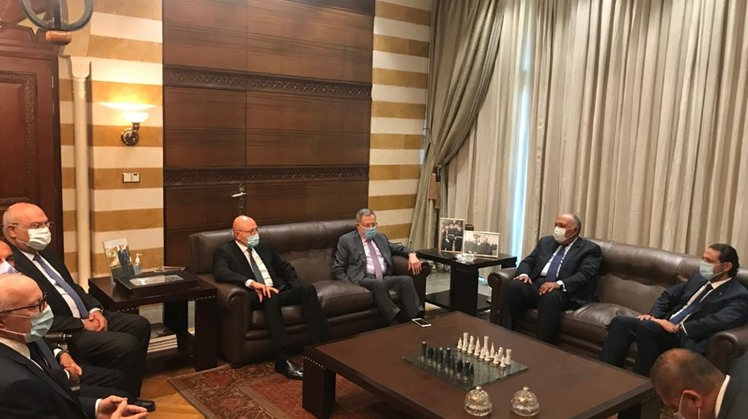 Egypt's Foreign Minister Sameh Shoukry met Tuesday with former Lebanese prime ministers Saad al Hariri, Fouad Siniora and Tammam Salam