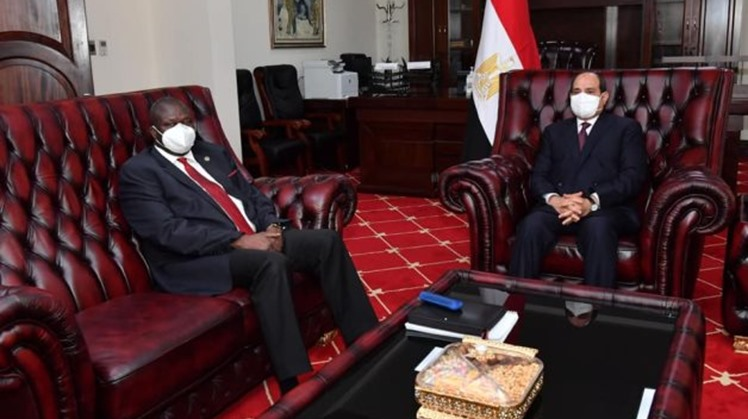 Egyptian President Abdel Fattah El Sisi on Saturday met with South Sudan's First Vice President Riek Machar, as part of the former's visit to Juba, during which he separately met with President Salva Kiir.