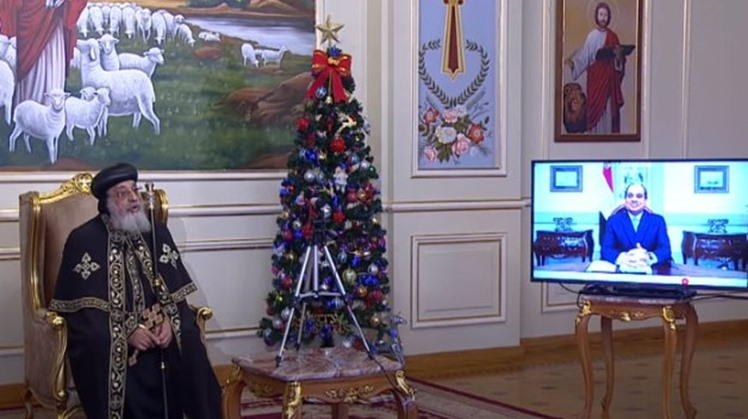 President Sisi wishes Egyptians merry Christmas over video conference with Pope Tawadros II