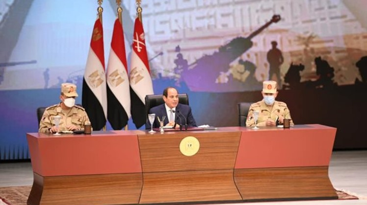 Egypt's president convenes with Armed Forces personnel, holds a dialogue on internal, regional, and international topics