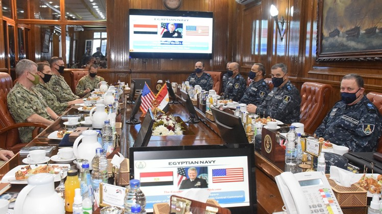 Commander of the Egyptian Navy Ahmed Khaled received Tuesday Commander of the U.S. Naval Forces Central Command Samuel Paparo and accompanying delegation in Ras Al Tin Naval Base in Alexandria
