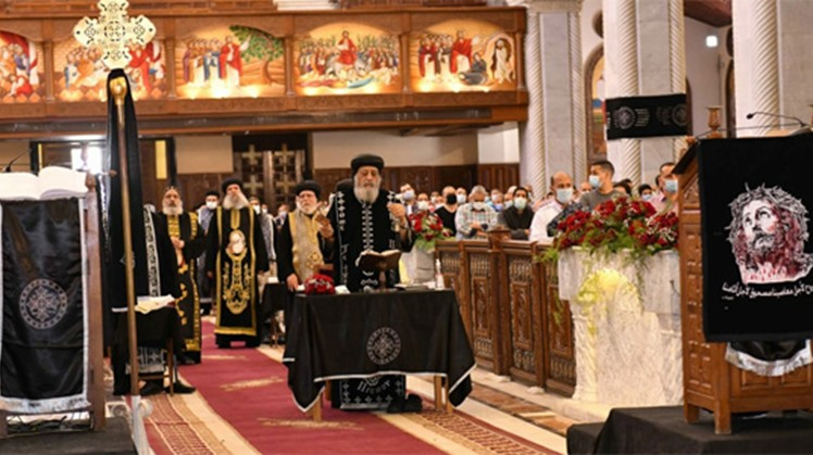 Egypt's Pope Tawadros II leads Good Friday prayers at Abbassiya Cathedral