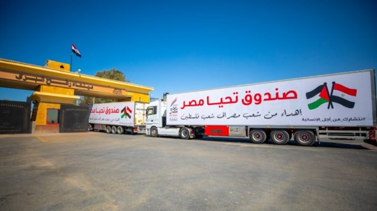 Egypt sends 52 aid-laden trucks to Gaza residents, as Sisi urges to end Palestinian division