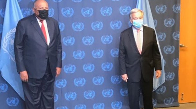 Egypt's FM meets with UN Secretary-General to assert int'l community's responsibility for contributing to resolving GERD's crisis