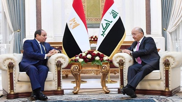 Egypt's President Abdel-Fattah El-Sisi held a meeting on Saturday with his Iraqi counterpart Barham Salih at Baghdad Presidential Palace to discuss bilateral relations and other issues of mutual concern