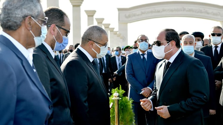 Egypt's President Abdel Fattah al Sisi offered his condolences to the family of former defense minister Mohamed Hussein Tantawy who passed away earlier, Tuesday as he led his military funeral at El Mosheer Tantawy Mosque in New Cairo's Fifth Settlement di