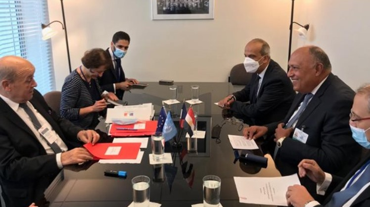 Egyptian, French FMs hold session of talks in New York