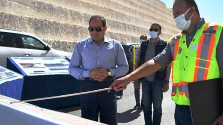 President Sisi inspects development works at some roads east of Cairo
