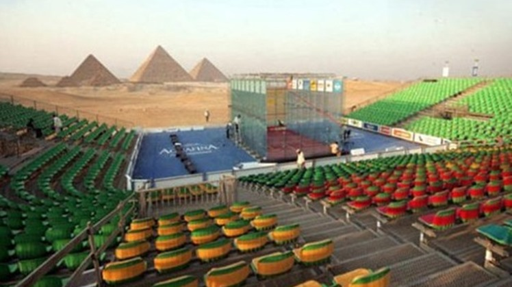 FILE - Great Pyramids of Giza will host PSA Women's World Championships