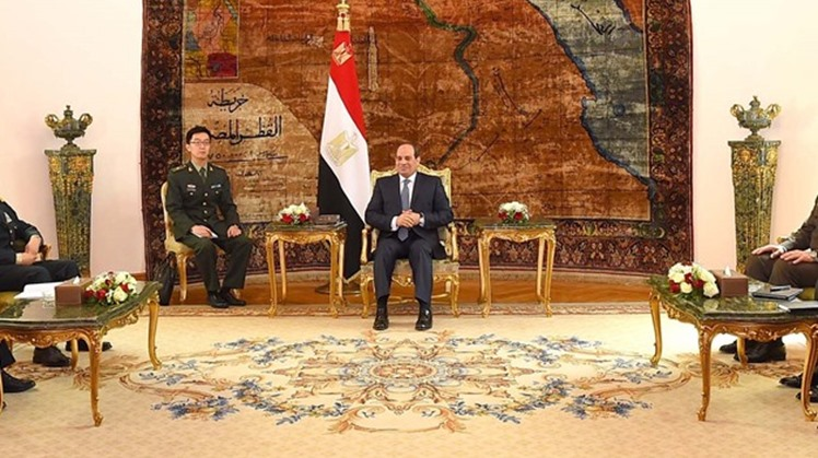 Egyptian President Abdel Fatah al-Sisi and Chinese Minister of Defense Wei Fenghe