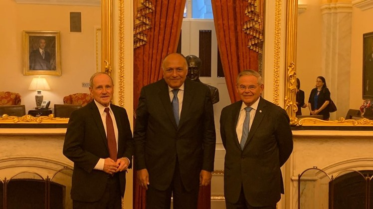 FM  Sameh Shoukry with Senators Jim Risch and Bob Menendez, Chairman and Ranking Member of the Senate Foreign Relations Committee