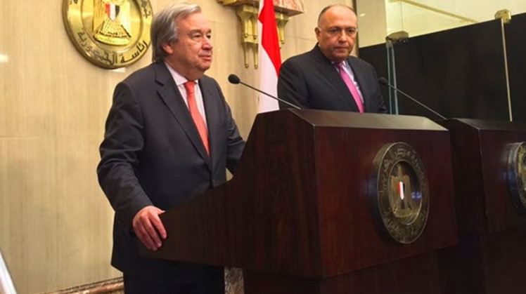 Egypt's Foreign Minister Sameh Shoukri (R) holds a press conference in Cairo with UN Secretary-General António Guterers (L) - Courtesy of the UNSG spokesperson