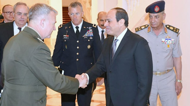 Egypt's President Abdel-Fattah El-Sisi met on Tuesday in Cairo with the commander the United States Central Command, General Kenneth McKenzie Jr, and a delegation of US army officials