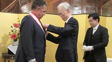 Japan has bestowed on Egypt's former foreign minister Nabil Fahmi the Grand Cordon of the Order of the Rising Sun.