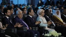 From Left, Palestinian President Mahmoud Abbas, Egyptian President Abdel Fattah el-Sisi, and Egypt's First Lady Entissar el-Sisi during the opening of the World Youth Forum, December 14th, 2019 - Courtesy of the Presidency