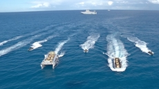 Egyptian and French naval forces carried out on Monday a military drill in the Mediterranean sea.